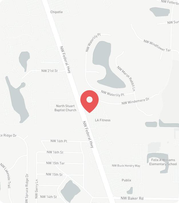 Google map view of Fresh Family Dental in Stuart, FL